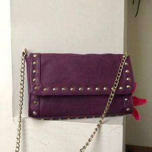 Purple Envelope on Chain Clutch CrossBody Bag